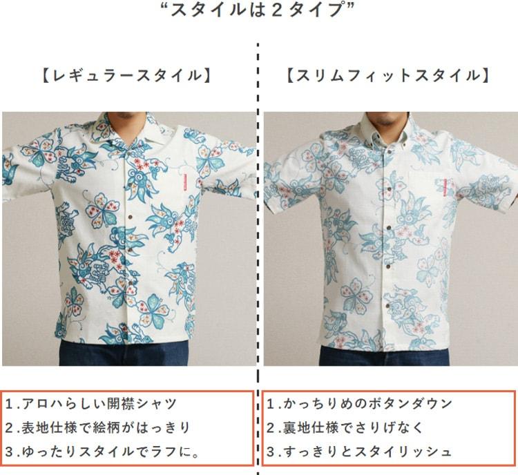アロハシャツ シーサー柄メンズ かりゆしウェア