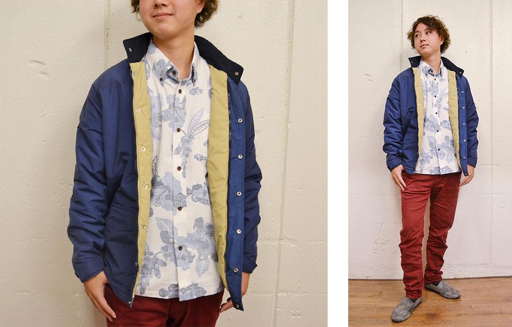 単色系、紅型模様、裏地仕様かりゆしとマウンテンジャケットで冬春コーデ