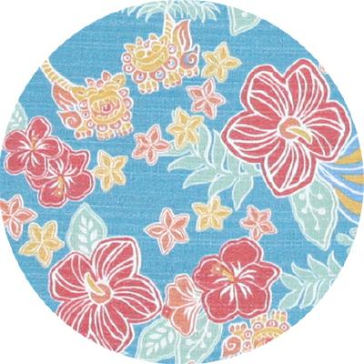 163014 トロピカルシーサーハイビ(スリムフィットシャツ|裏地仕様) メンズ|ライトブルー