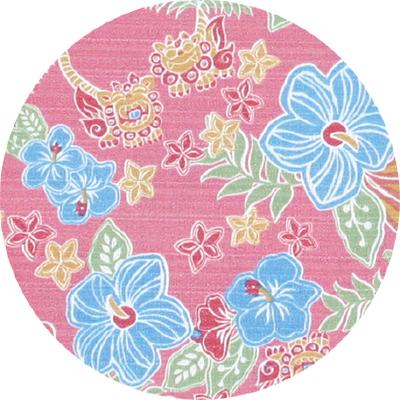キッズかりゆしウェア−アロハシャツ|トロピカルシーサーハイビ 90cm〜110cm|ピンク