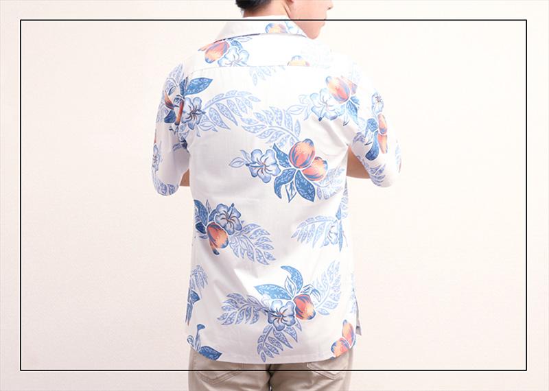 アロハシャツ−かりゆしウェア【マンゴハイビー(開襟シャツ) メンズ】は着合わせやすい