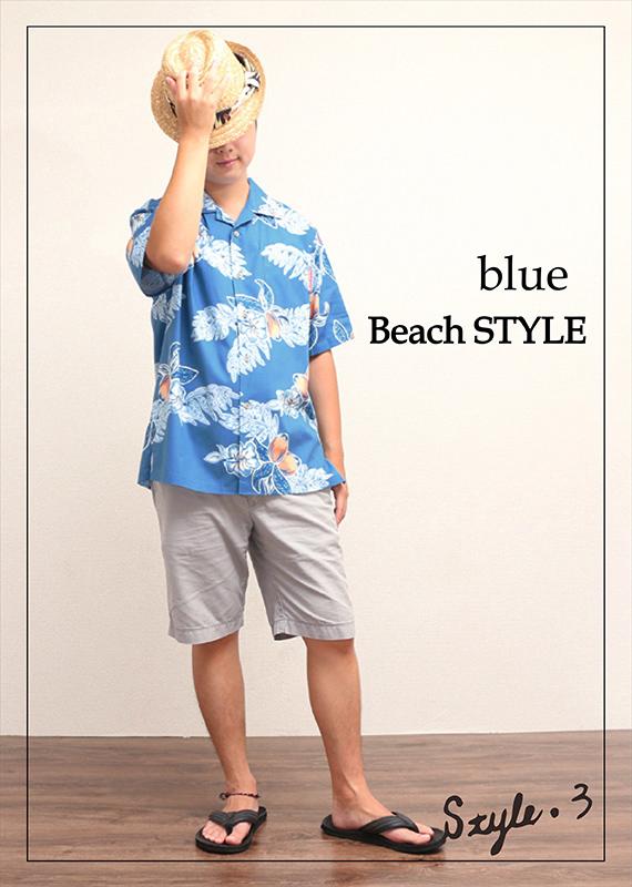 アロハシャツ−かりゆしウェア【マンゴハイビー(開襟シャツ) メンズ】夏を満喫♪