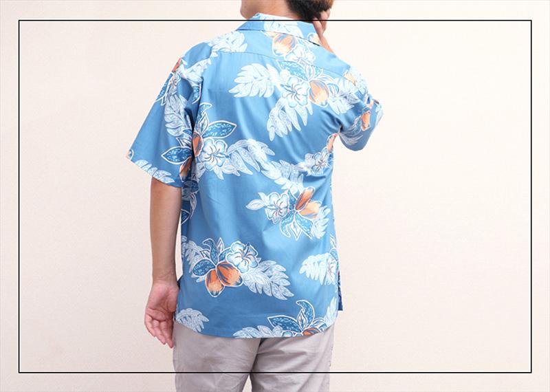アロハシャツ−かりゆしウェア【マンゴハイビー(開襟シャツ) メンズ】でリゾート