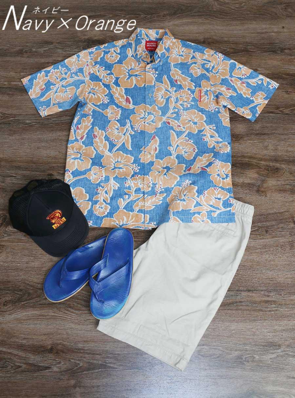 アロハシャツ−かりゆしウェア【ハイビー総柄(ボタンダウンシャツ)裏地仕様 メンズ】をキャップ、ハーフパンツ、ビーチサンダルでコーデ