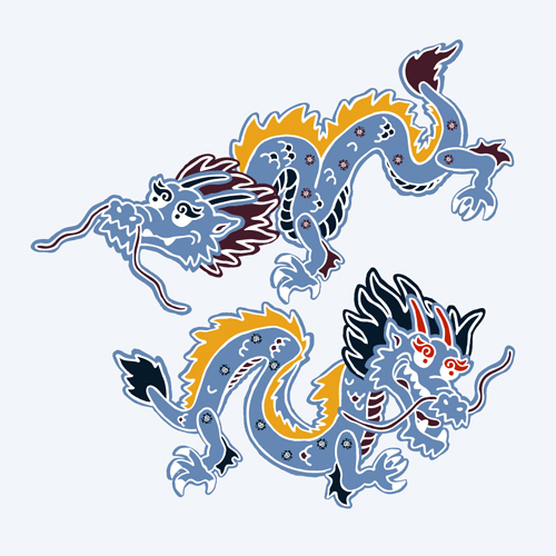 アロハシャツ−かりゆしウェア【紅型ドラゴン(スリムフィット/開襟シャツ)裏地仕様 メンズ】ドラゴンデザイン