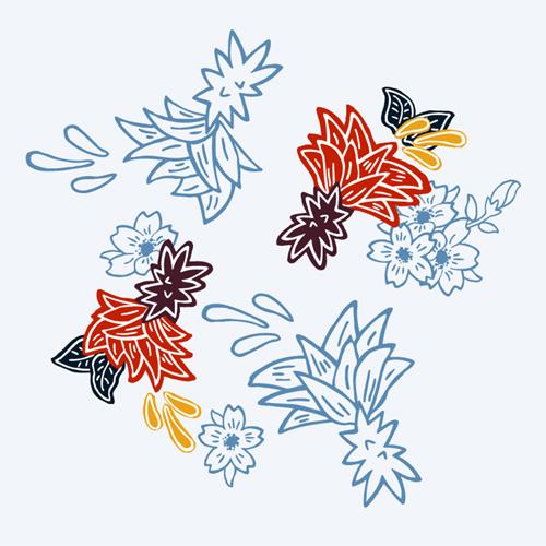 アロハシャツ−かりゆしウェア【紅型ドラゴン(スリムフィット/開襟シャツ)裏地仕様 メンズ】ちゅら花デザイン