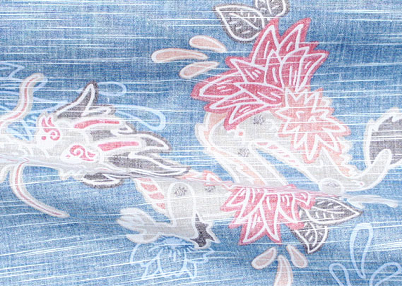 アロハシャツ−かりゆしウェア【紅型ドラゴン(ボタンダウンシャツ)裏地仕様 メンズ】は新生地・ムラ糸使い織り
