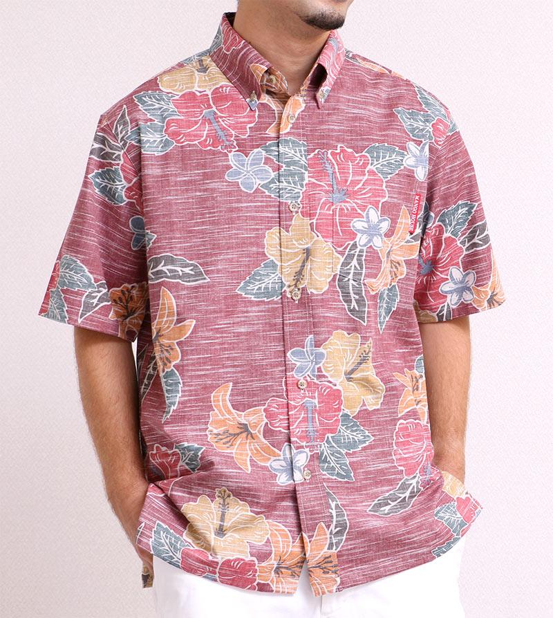 メンズ レトロ柄アロハシャツなエンジコーデで印象をガラッと変える