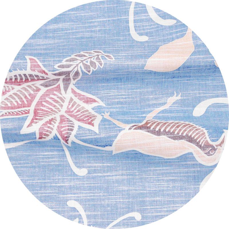 スリムフィットタイプ【ヤンバルクイナデイゴ(開襟シャツ)裏地仕様 メンズ】ブルー