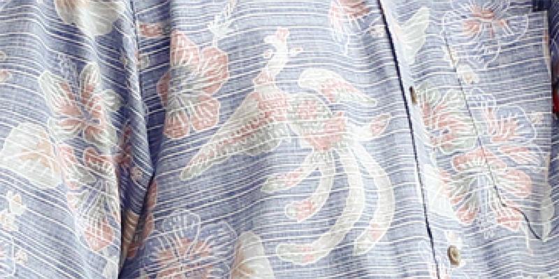 アロハシャツ−かりゆしウェア【紅型鳳凰(スリムフィット/ボタンダウンシャツ)裏地仕様 メンズ ネイビー】