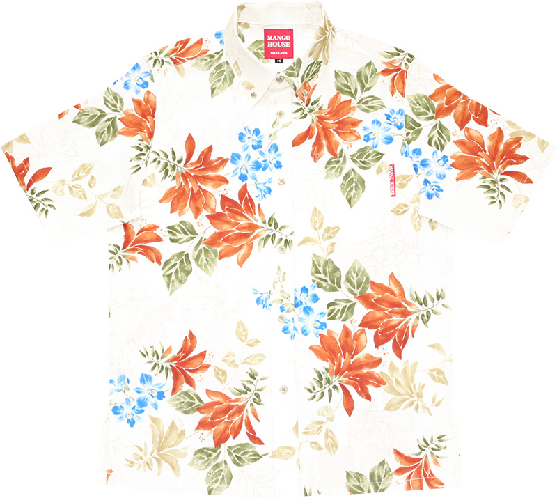 アロハシャツ−かりゆしウェア【リアルデイゴ(スリムフィット/ボタンダウンシャツ) メンズ】デザイン