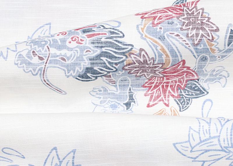 アロハシャツ−かりゆしウェア【紅型ドラゴン(スリムフィット/開襟シャツ)裏地仕様 メンズ】は新生地・ムラ糸使い織り