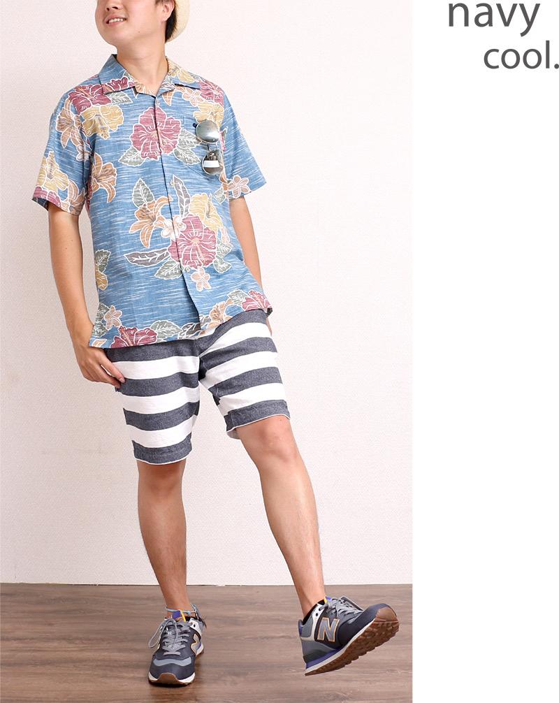 メンズ レトロ柄スリムフィットシャツ|ネイビー