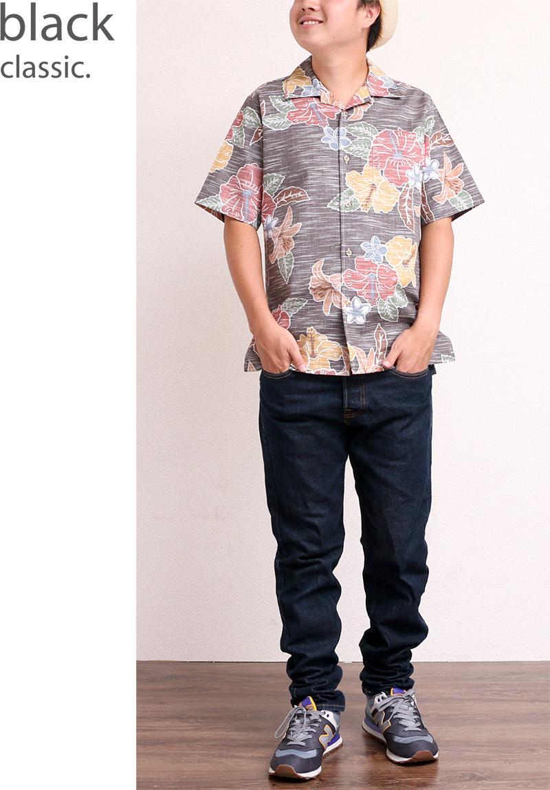 メンズ レトロ柄スリムフィットシャツ|ブラック