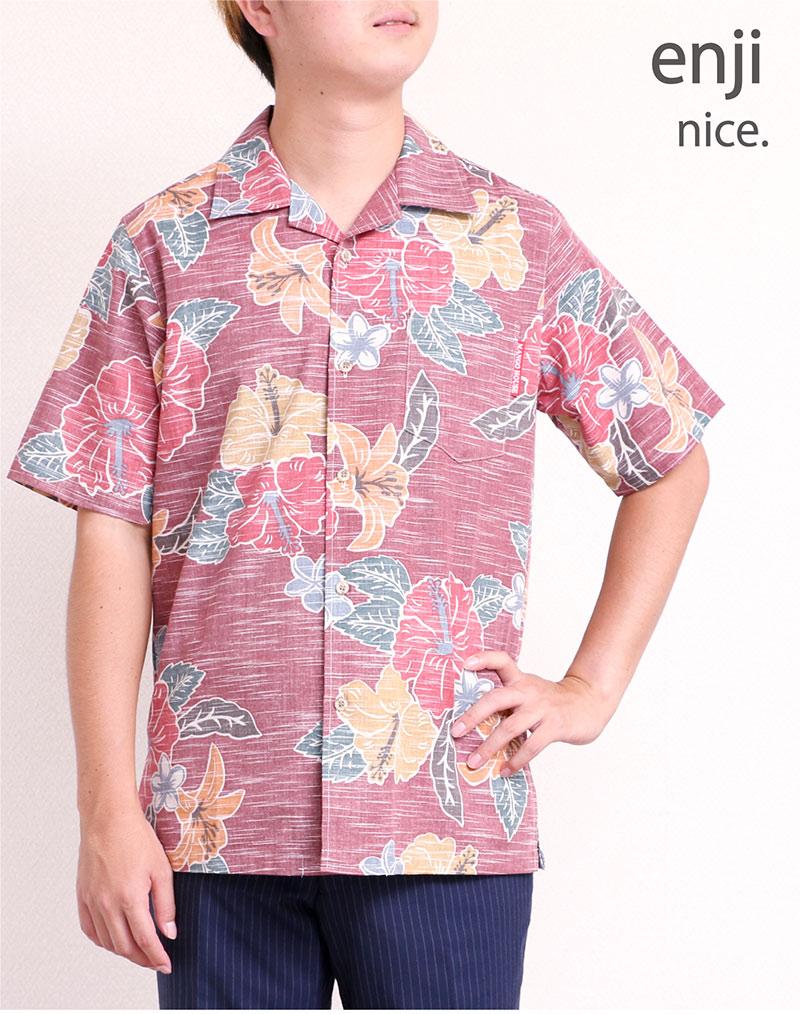 メンズ レトロ柄スリムフィットシャツ|エンジ