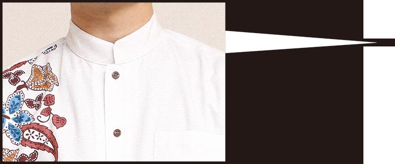 長袖アロハシャツ−かりゆしウェア【ハイビーペイズリーボーダー(マオカラー/詰襟) メンズ】は上品さが引き立つ