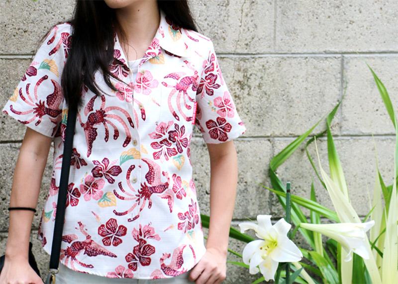 伝統模様を可愛らしく表現したアロハシャツ−かりゆしウェア