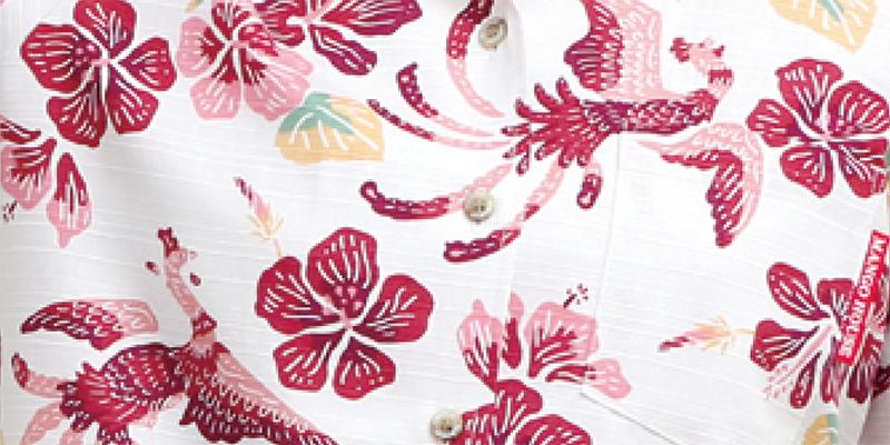 アロハシャツ−かりゆしウェア【紅型鳳凰(開襟シャツ) レディース オフレッド】