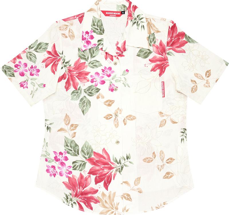 アロハシャツ−かりゆしウェア【リアルデイゴ(開襟シャツ) レディース】デザイン