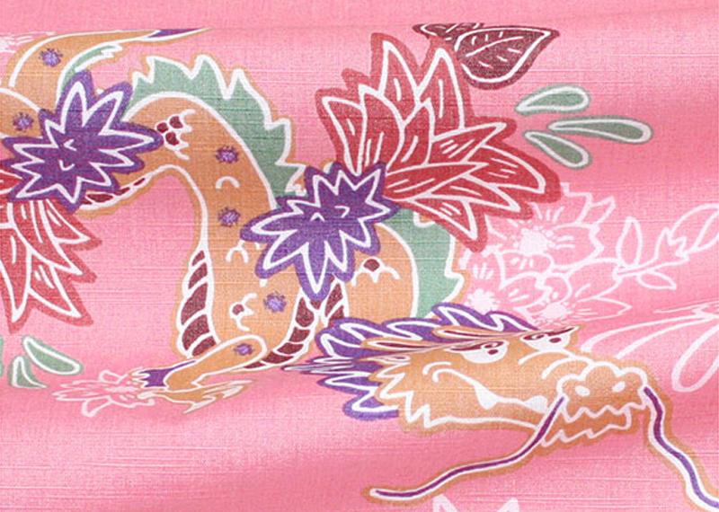 アロハシャツ−かりゆしウェア【紅型ドラゴン(開襟シャツ) レディース】は新生地・ムラ糸使い織り