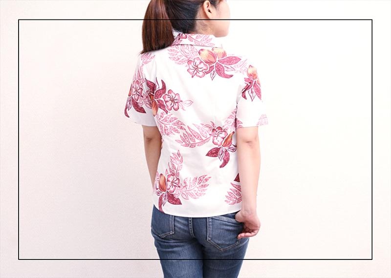 アロハシャツ−かりゆしウェア【マンゴハイビー(開襟シャツ) レディース】はどんなファッションにも似合う