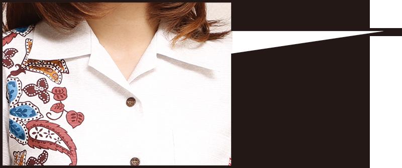 アロハシャツ−かりゆしウェア【ハイビーペイズリーボーダー(開襟シャツ) レディース】は爽やかさを演出
