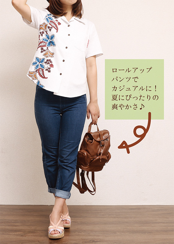 アロハシャツ−かりゆしウェア【ハイビーペイズリーボーダー(開襟シャツ) レディース】アイボリー