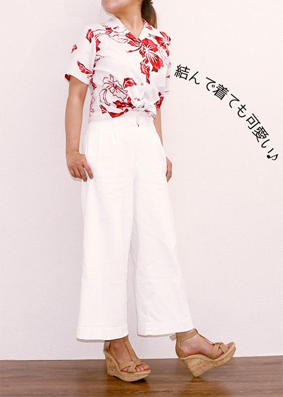 アロハシャツ−かりゆしウェア【カモフラハイビー(開襟シャツ) レディース】オフレッド全身