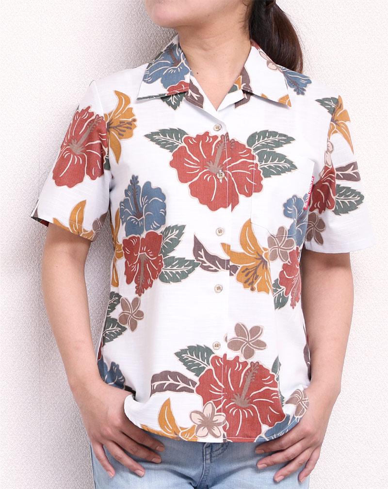 アロハシャツ−かりゆしウェア|クラシックハイビー(開襟シャツ) レディース|アイボリー