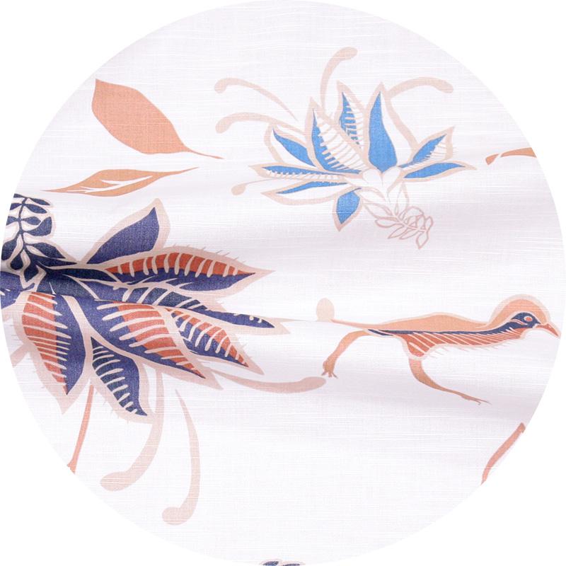アロハシャツ−かりゆしウェア【ヤンバルクイナデイゴ(開襟シャツ) レディース】アイボリー