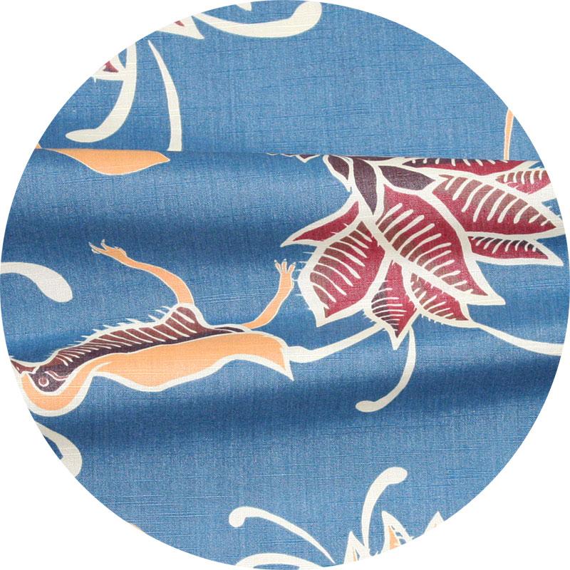 アロハシャツ−かりゆしウェア【ヤンバルクイナデイゴ(開襟シャツ) レディース】ブルー
