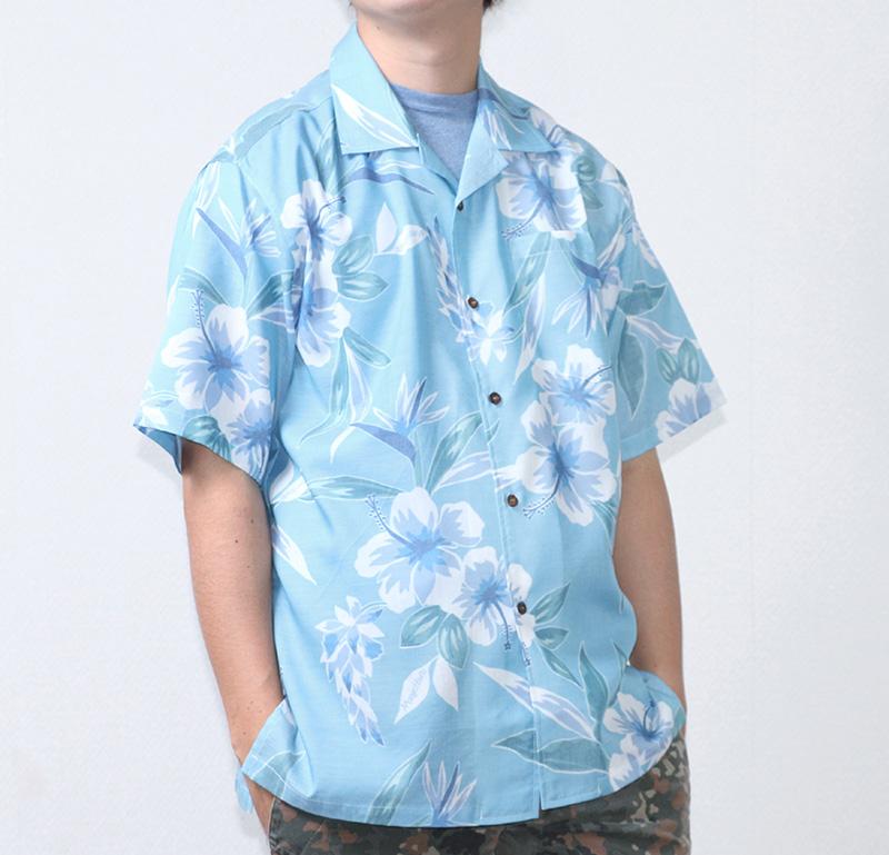 沖縄アロハシャツ(かりゆしウェア) メンズ ライトブルー|前
