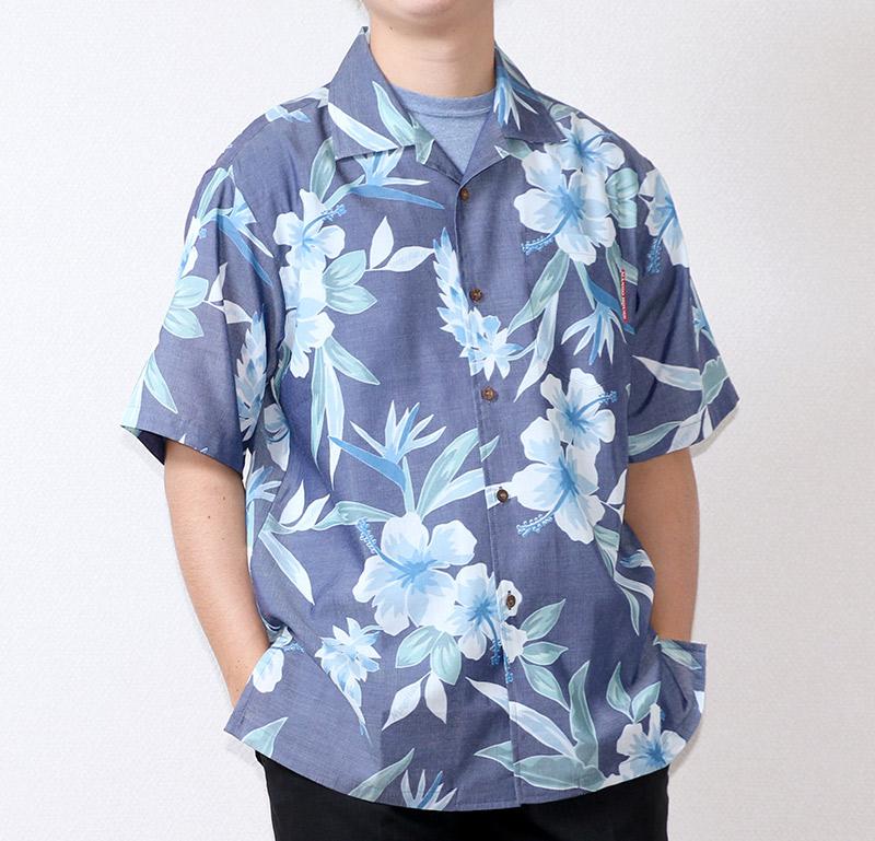 沖縄アロハシャツ(かりゆしウェア) メンズ ネイビー|前