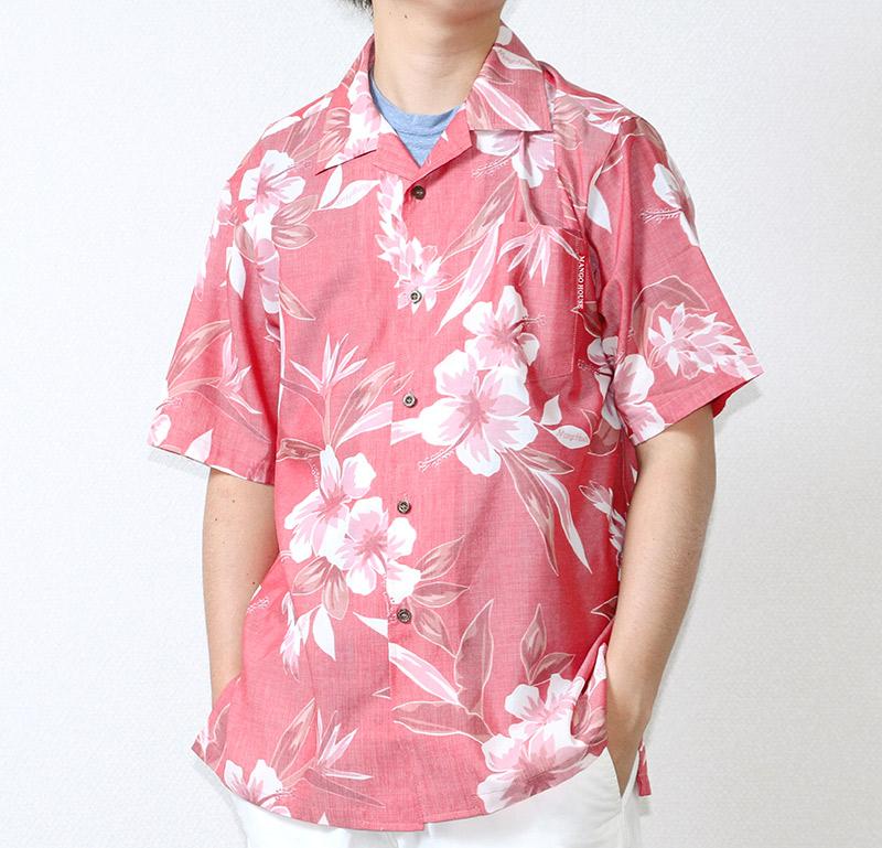 沖縄アロハシャツ(かりゆしウェア) メンズ レッド|前