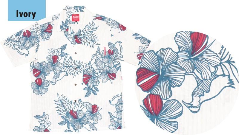 ヤンバルクイナ柄のメンズかりゆしウェアのデザイン
