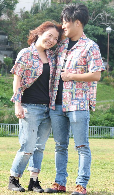 沖縄アロハシャツ(かりゆしウェア)のカップルコーデ