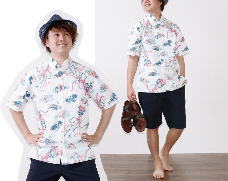 アロハシャツ 遊び着 かりゆしウェア アイボリーコーデ
