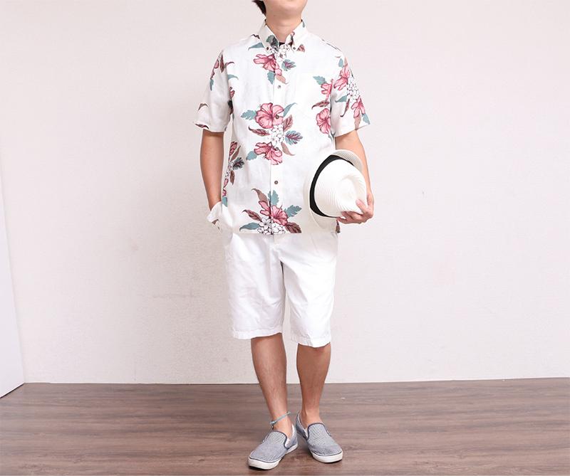 173028 ジャガードハイビー(スリムフィットシャツ) メンズ|アイボリー