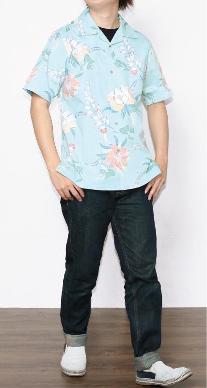 柔らかな色味のメンズアロハスリムフィットシャツ