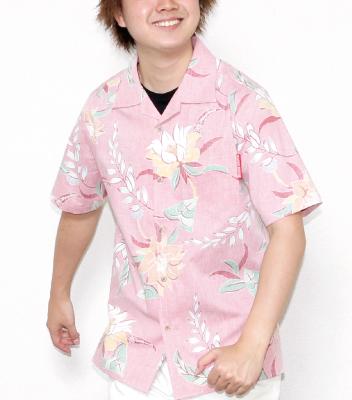 丈夫な素材のメンズアロハスリムフィットシャツ