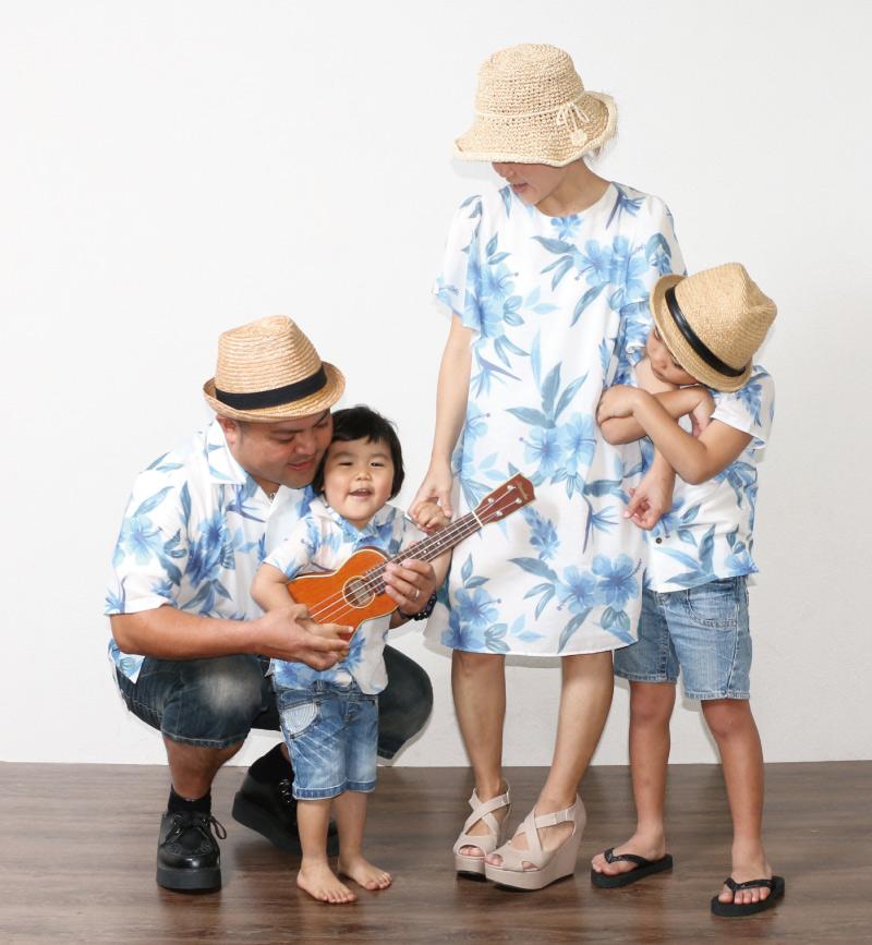 キッズアロハシャツで家族リンクコーデ