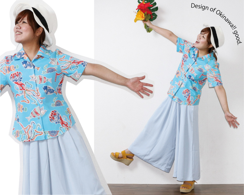 アロハシャツ 遊び着 かりゆしウェア ライトブルーコーデ