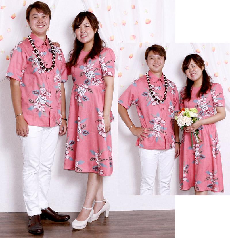 かりゆしワンピース ジャガードハイビー レディースcolor.3 ピンク