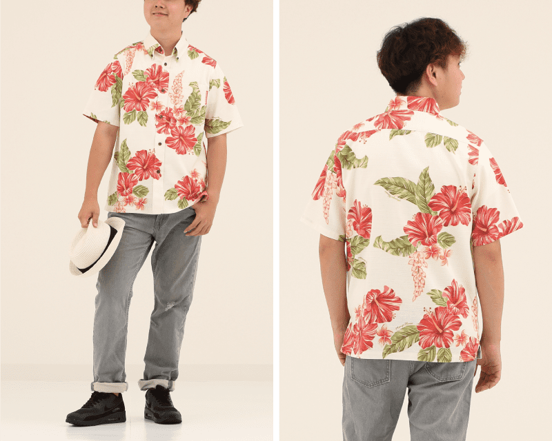 南国を感じる元気なメンズのスリムフィットシャツ オフレッド 後