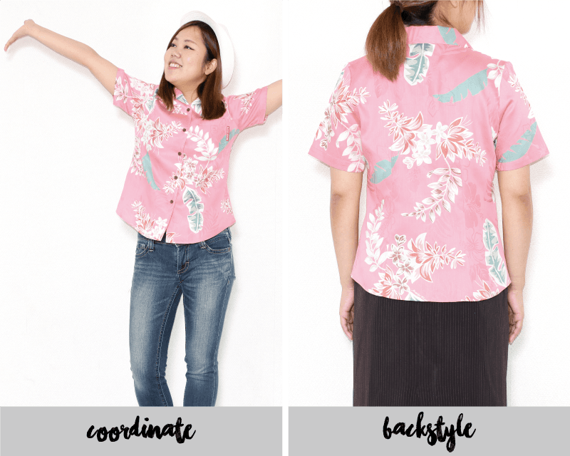 特別な気分を味わえるレディースアロハシャツ ピンク 後