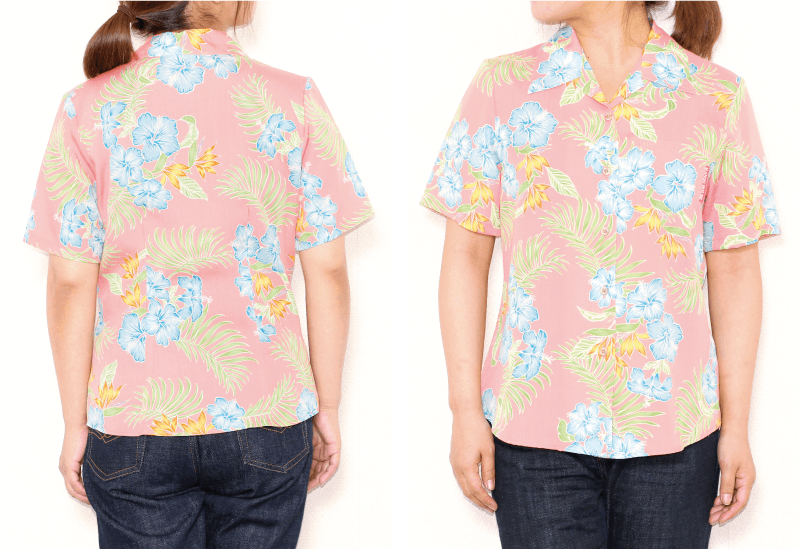 リゾート気分を盛り上げるレディースアロハシャツ ピンク