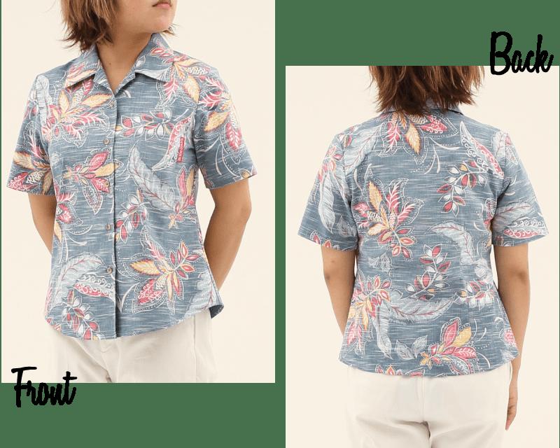 エスニック風でヴィンテージ表現されらレディース沖縄アロハシャツシックな雰囲気 シックな雰囲気