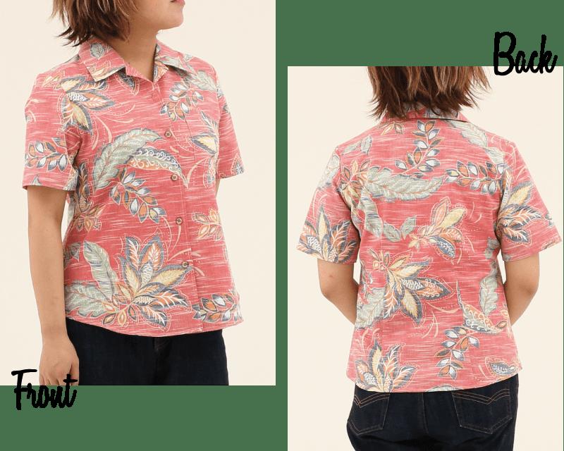 エスニック風でヴィンテージ表現されらレディース沖縄アロハシャツシックな雰囲気 大人気のカラー