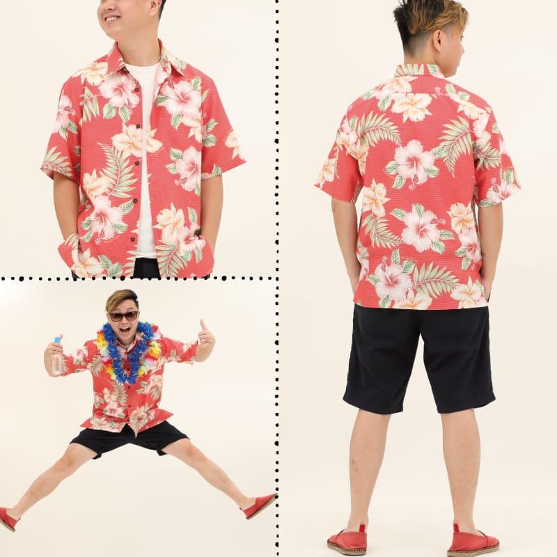 沖縄アロハシャツ メンズ かりゆしウェア レッド