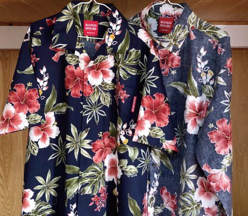 沖縄アロハシャツ 裏返しのまま陰干し かりゆしウェア